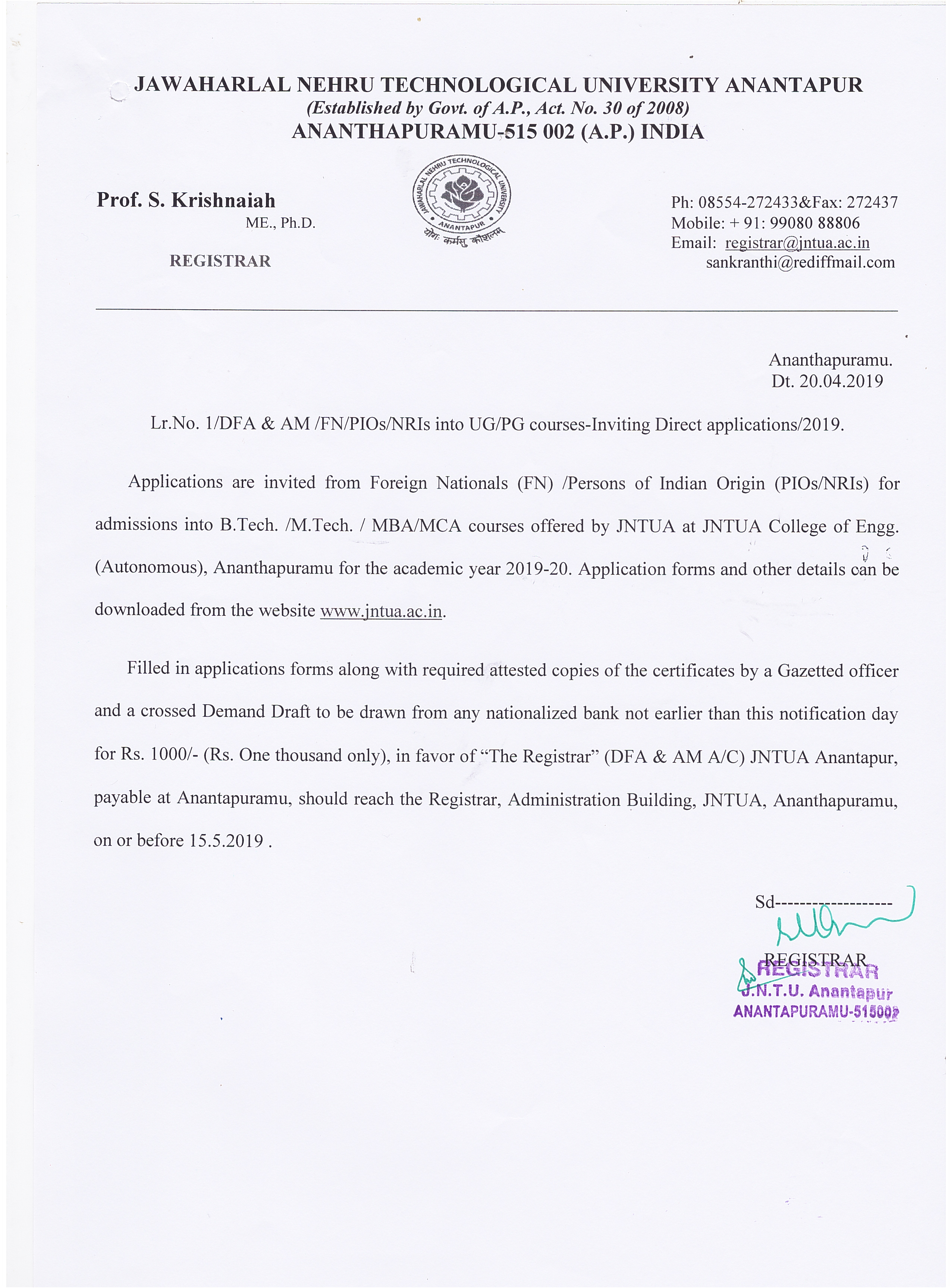 Notification for admission into UG/PG courses under FN/NRI